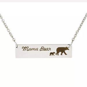 BOGO! Mama Bear Silver Necklace Engraved 1 Cub Kid